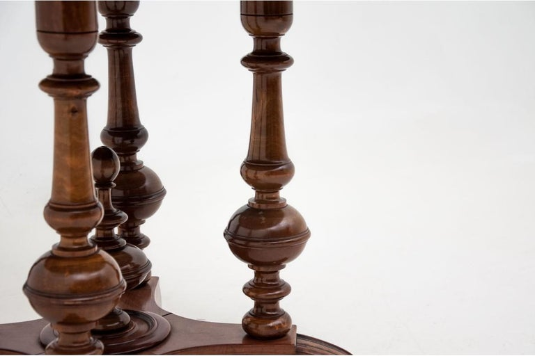 Biedermeier Round Walnut Table from Around 1920 For Sale