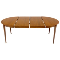 Round Walnut Tapered Legs Dining Room Table with Two Extensions Boards
