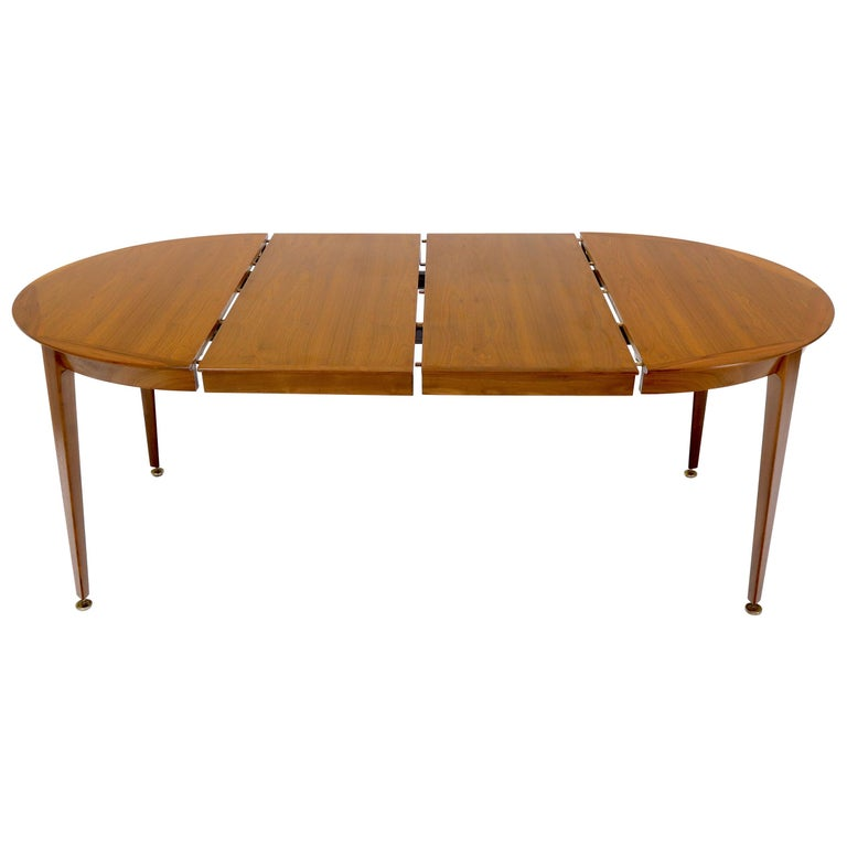 Round Walnut Tapered Legs Dining Room Table with Two Extensions Boards For Sale