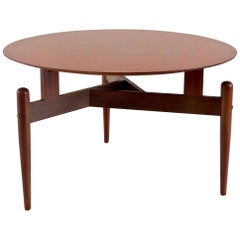 Round Walnut Three Feet Italian Coffee Table, circa 1950