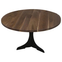 Round Walnut Top Table with Black Steel Pedestal Base