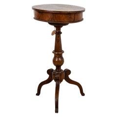 Round Walnut Work Table on Stand