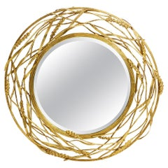 Round Wheat Mirror