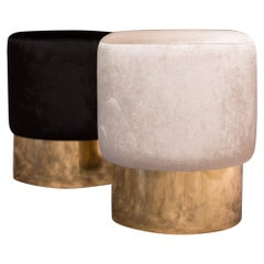 Round White and Black Velvet and Polished Brass Set of Two Italian Stools
