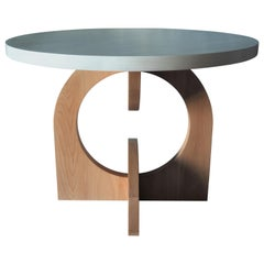 Round White Beech Table by MSJ Furniture Studio