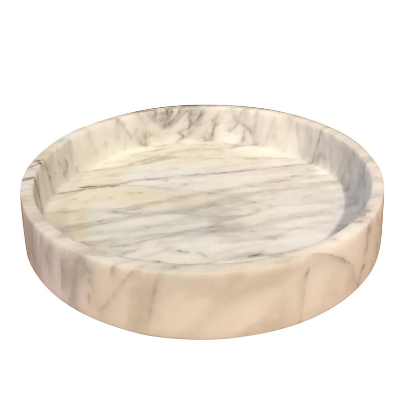 Round White Carrara Marble Bowl, Italy, Contemporary