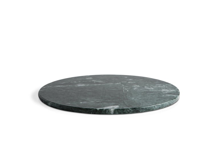 Hand-Crafted Round White Carrara Marble Cheese Plate For Sale