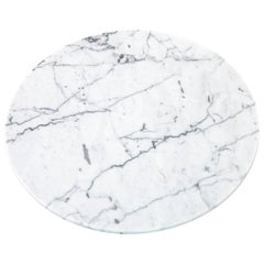 Round White Carrara Marble Cheese Plate
