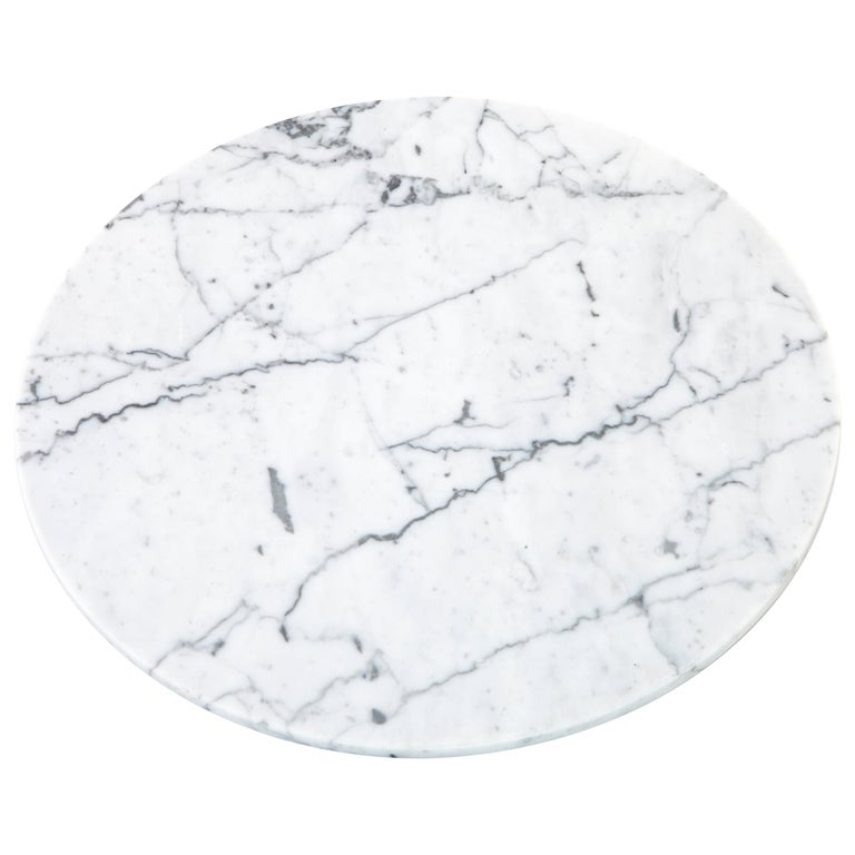 Round White Carrara Marble Cheese Plate For Sale