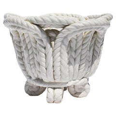 Round White Ceramic Candleholder in Basketweave Rope Pattern, Spain