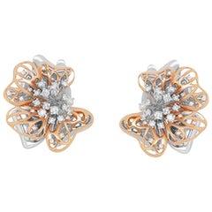Round White Diamond 0.78 Carat Dangle Flower Cluster Earrings 14 Karat Rose Gold