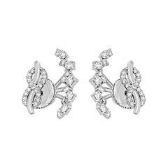 Round White Diamond 0.85 Carat Total 14 Karat Gold Fashion Ear Cuff Earring
