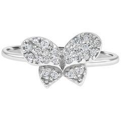 Round White Diamond Butterfly White Gold Cocktail Fashion Gold Ring