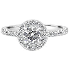 Round White Diamond Halo 1.00 Carat 18k White Gold Bridal Engagement Ring