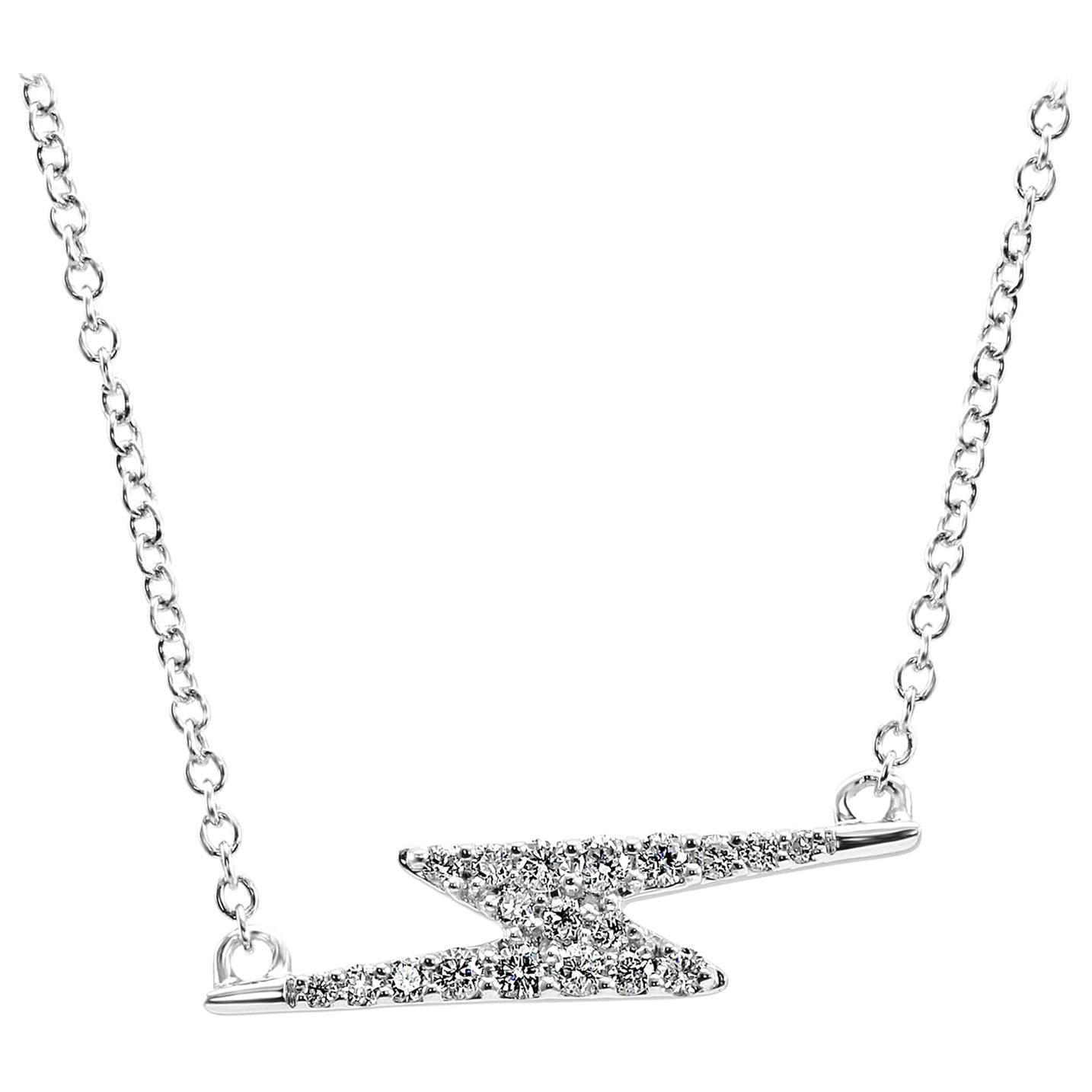 Round White Diamonds Fashion Drop Pendant 14 Karat White Gold Chain Necklace