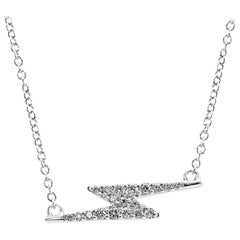 Round White Diamonds Fashion Drop Pendant 14 Karat White Gold Chain Necklace