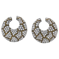 Round, White Gold, Rose Cut Diamond and Yellow Diamond Creoles Earrings