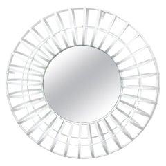 Round White Industrial Wall Mirror
