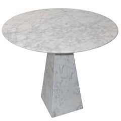 White Round Top Marble Side Table, Portugal, Contemporary