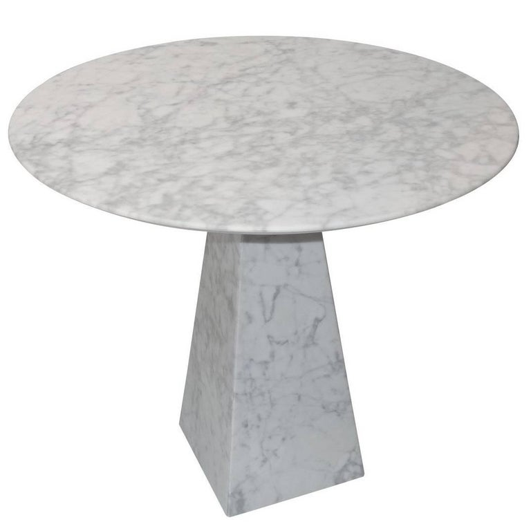 Round White Marble Side Table, Portugal, Contemporary