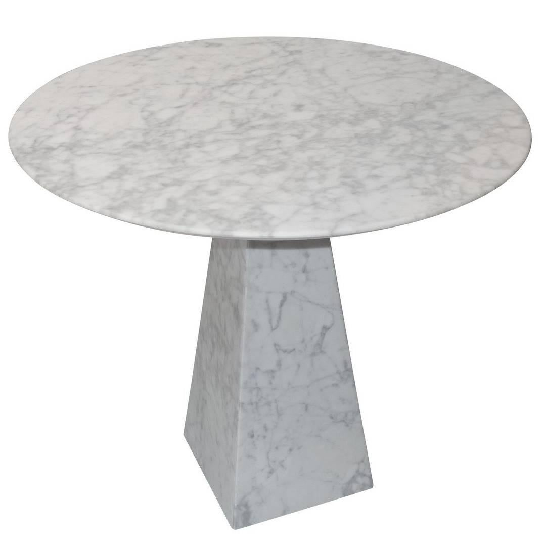 Round White Marble Side Table, Portugal, Contemporary For Sale