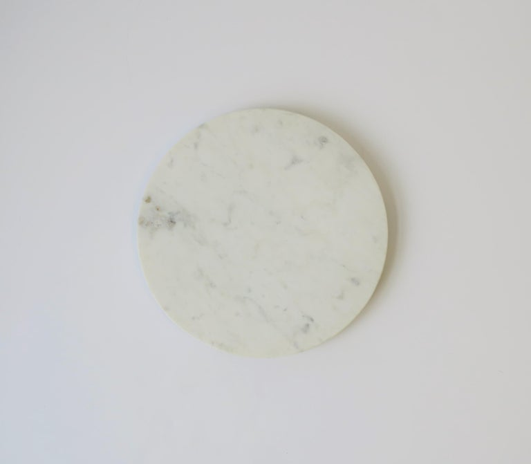 Modern Round White Marble Trivet or Tray For Sale
