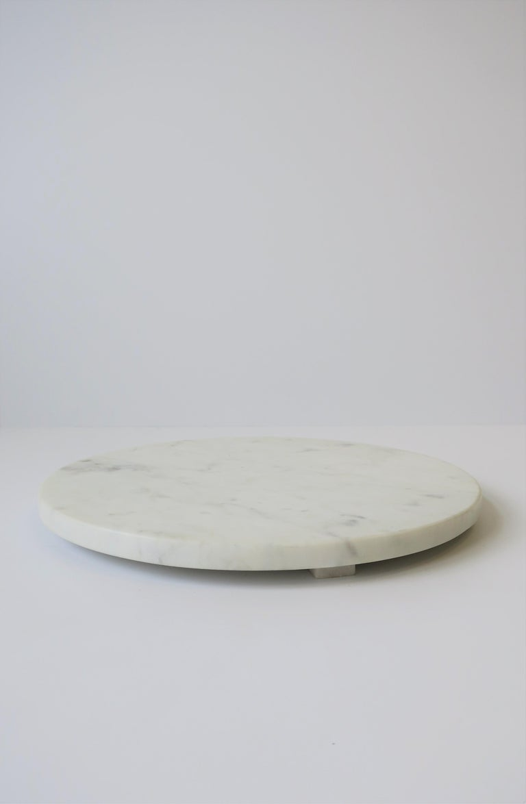 Italian Round White Marble Trivet or Tray For Sale