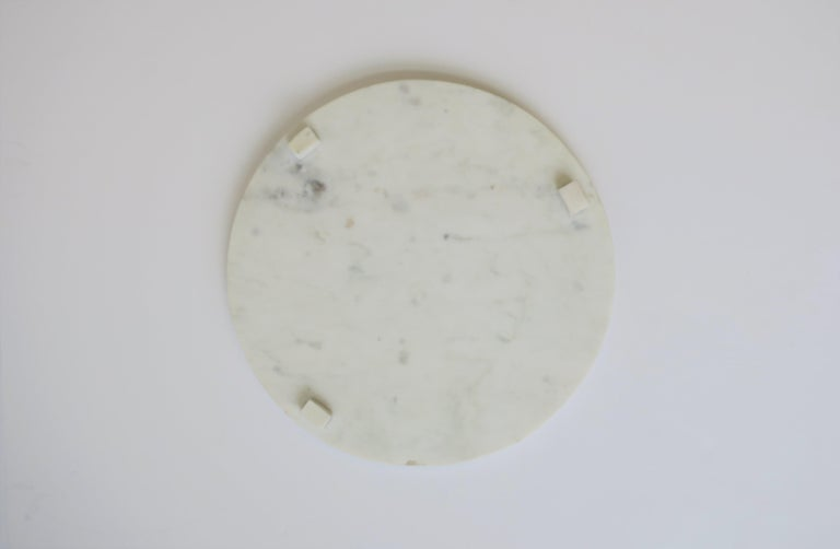 Contemporary Round White Marble Trivet or Tray For Sale