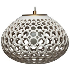 Round White Pierced Pendant Light, in Stock
