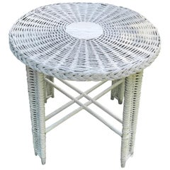 Round White Wicker Table