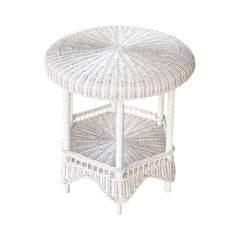 Round White Woven Wicker and Rattan Side Patio Table with Bottom Shelf