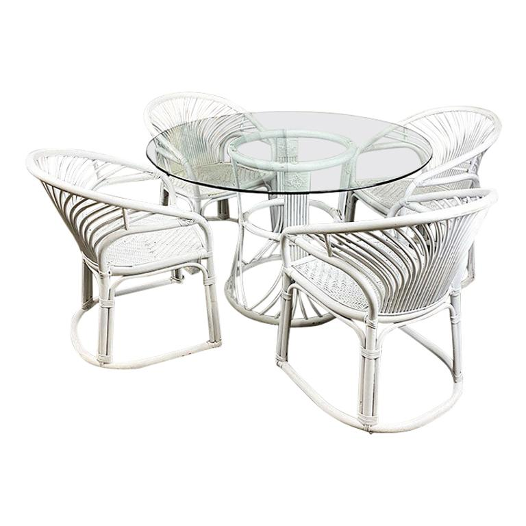 Round Wicker and Rattan Woven Outdoor Patio Dining Set with Glass Top, Seats 4