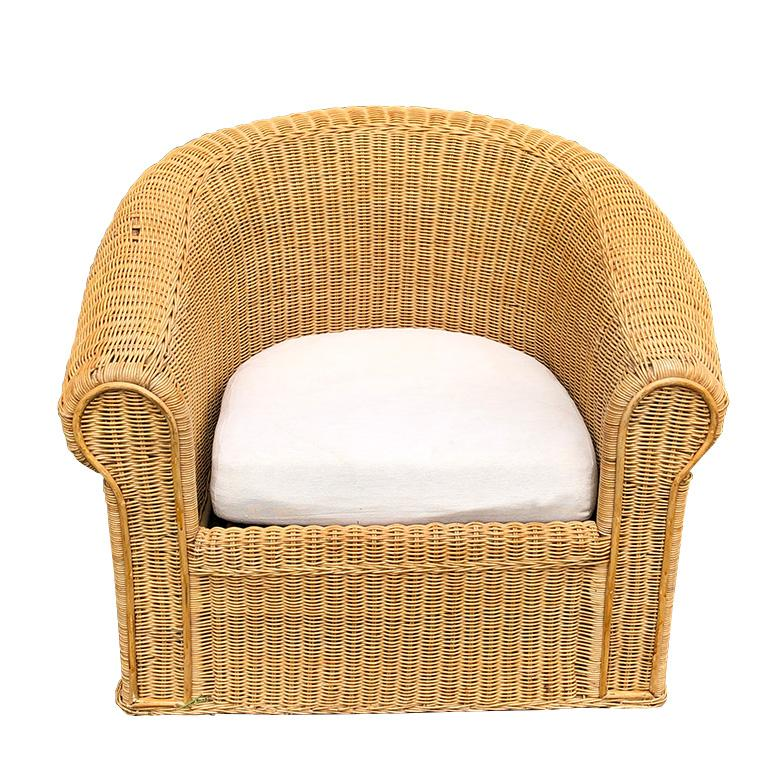 Round Wicker Bamboo Rattan Trompe L'oeil Draped Ghost Table and Chair Set 1970s  For Sale 3