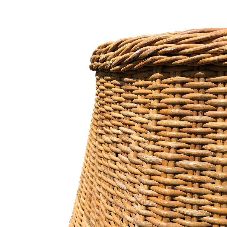 Round Wicker Bamboo Rattan Trompe L'oeil Draped Ghost Table and Chair Set 1970s  For Sale 4