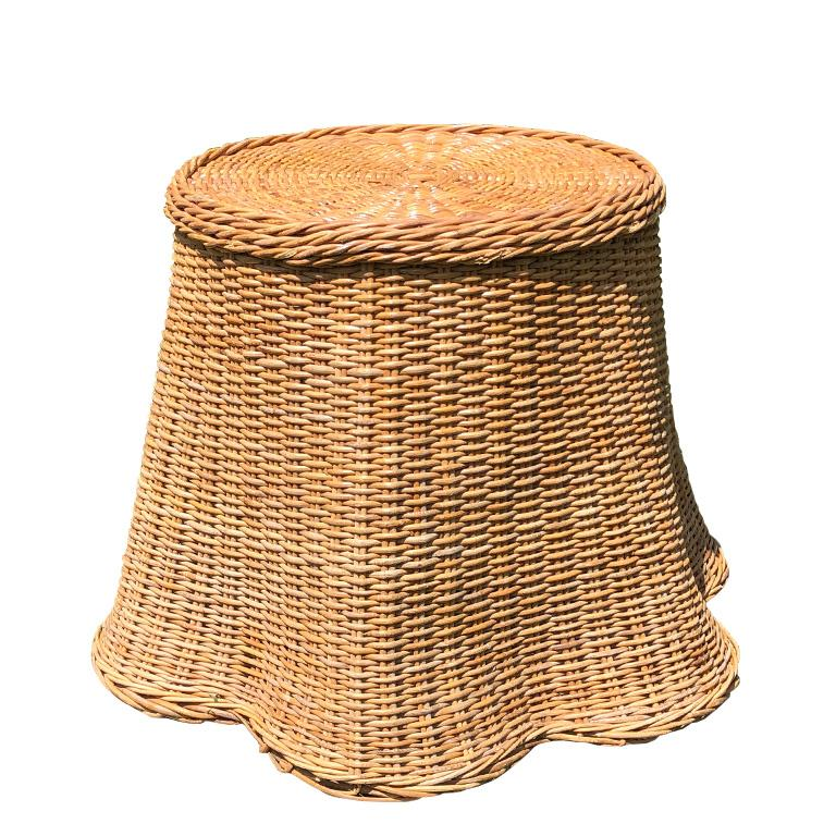 Round Wicker Bamboo Rattan Trompe L'oeil Draped Ghost Table and Chair Set 1970s  For Sale 7