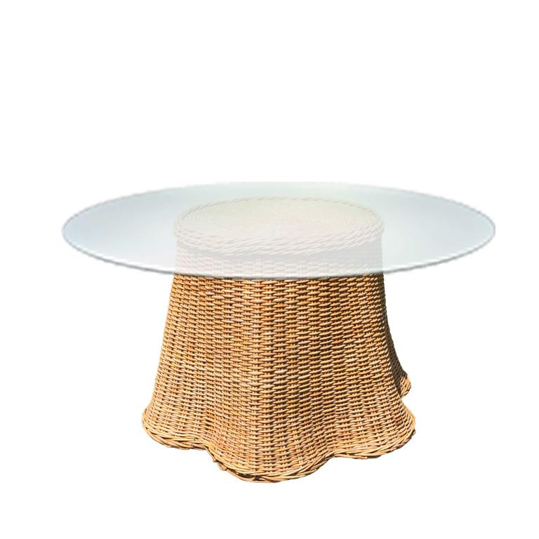 Hollywood Regency Round Wicker Bamboo Rattan Trompe L'oeil Draped Ghost Table and Chair Set 1970s  For Sale