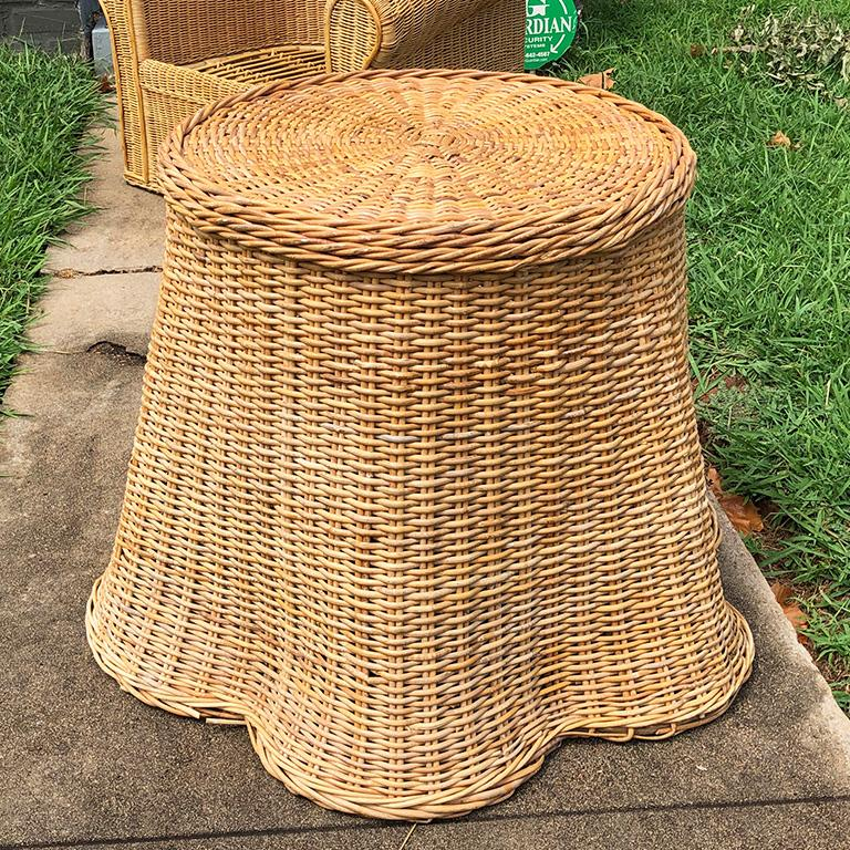 American Round Wicker Bamboo Rattan Trompe L'oeil Draped Ghost Table and Chair Set 1970s  For Sale