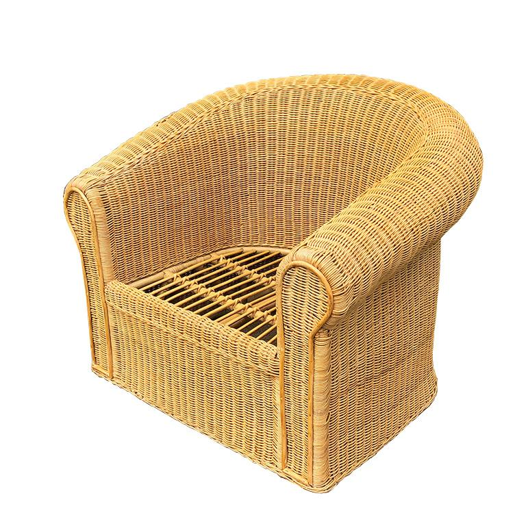 Round Wicker Bamboo Rattan Trompe L'oeil Draped Ghost Table and Chair Set 1970s  In Good Condition For Sale In Oklahoma City, OK