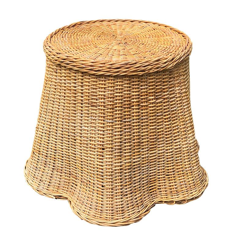 Wood Round Wicker Bamboo Rattan Trompe L'oeil Draped Ghost Table and Chair Set 1970s  For Sale