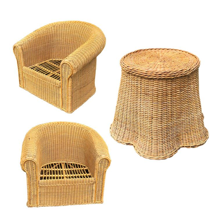 Round Wicker Bamboo Rattan Trompe L'oeil Draped Ghost Table and Chair Set 1970s  For Sale 1