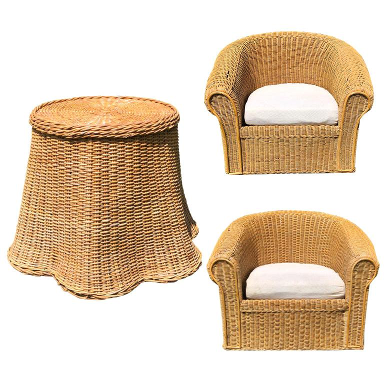Round Wicker Bamboo Rattan Trompe L'oeil Draped Ghost Table and Chair Set 1970s  For Sale