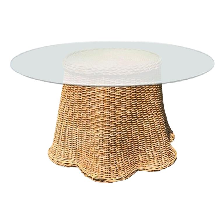 Round Wicker Bamboo Rattan Trompe l'Oeil Ghost or Draped Table with Glass, 1970