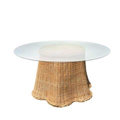 Round Wicker Bamboo Rattan Trompe l'Oeil Ghost or Draped Table With Glass - 1970