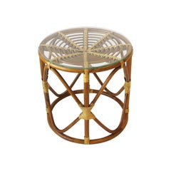 Round Wicker Rattan Bentwood Side Table with Glass Top