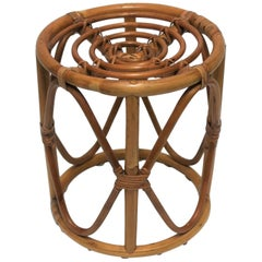 Round Wicker Rattan Bentwood Side Table with Glass Top or Stool