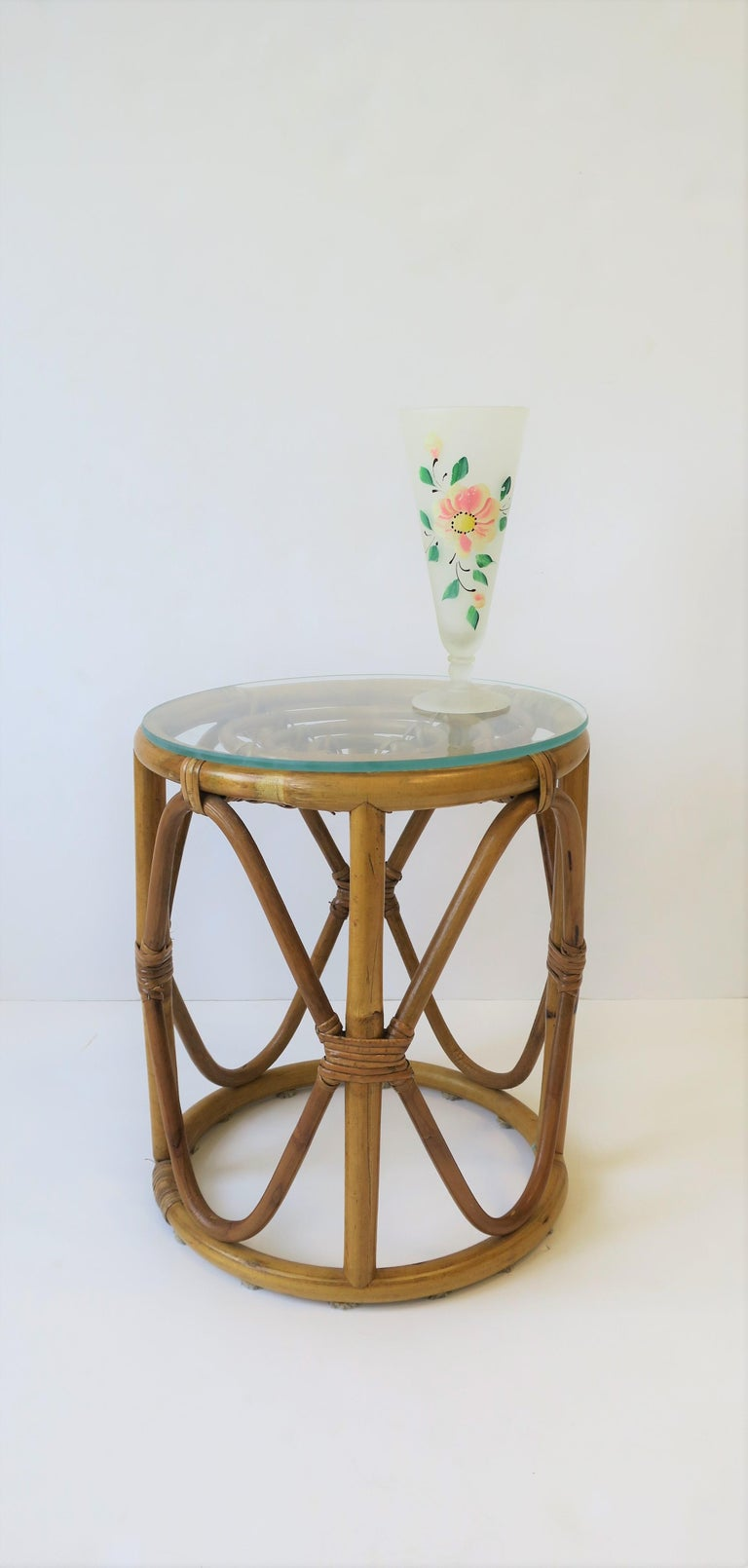 Pleasant Round Wicker Rattan Bentwood Side Table With Glass Top Or Stool Onthecornerstone Fun Painted Chair Ideas Images Onthecornerstoneorg