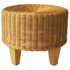 Round Wicker Stool or Ottoman