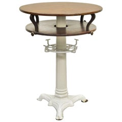 Round Wood and Cast Iron Pedestal Base Industrial Centre Island Table