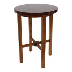 Round Wood Drinks Table Starburst Veneer