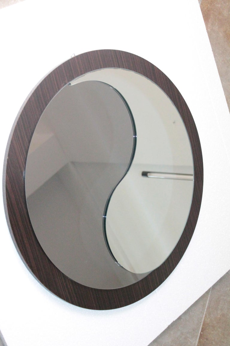 Space Age Round Wood Italian Vintage Mirror Tao Design Artglass, 1970s For Sale